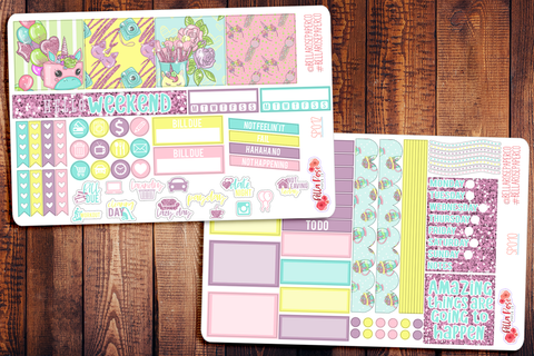 Spring Unicorn Mini Happy Planner Sticker Kit SP012