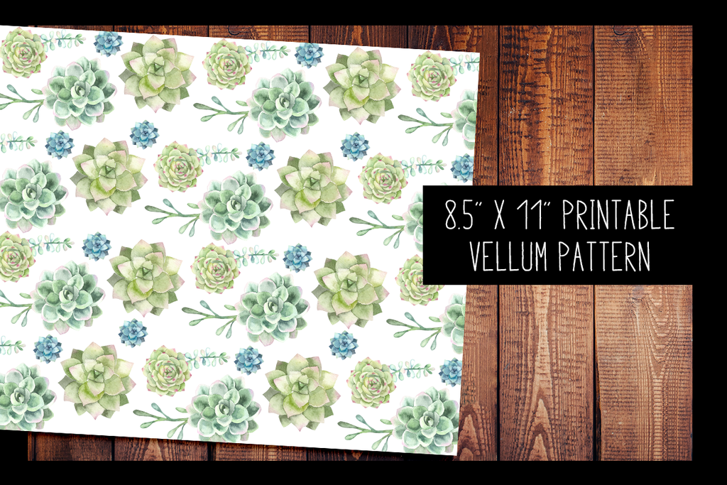 photo about Printable Vellum Paper titled Succulent Vellum PRINTABLE VELLUM Practice