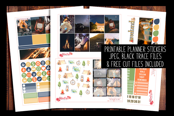 Summer Nights Photo Planner Kit | PRINTABLE PLANNER STICKERS