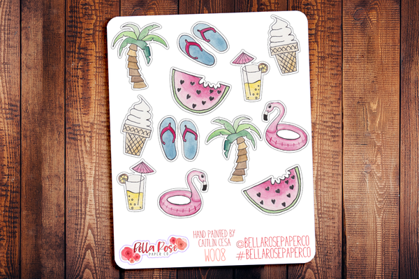 Summer Hand Painted Watercolor Planner Stickers W008