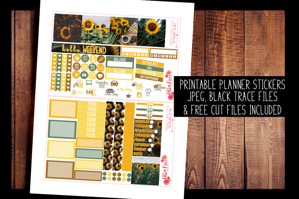 Sunflower Photo Mini Happy Planner Kit | PRINTABLE PLANNER STICKERS