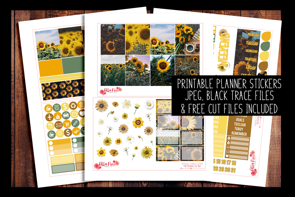 Sunflower Photo Planner Kit | PRINTABLE PLANNER STICKERS