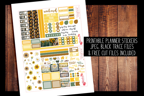 Sunflower Photo Hobonichi Weeks Kit | PRINTABLE PLANNER STICKERS