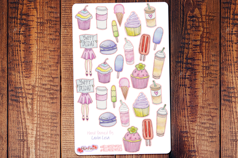 Sweet Treats Hand Painted Watercolor Planner Stickers