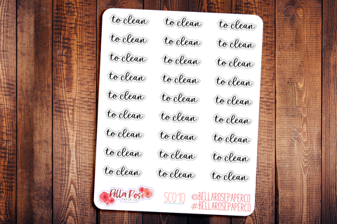 To Clean Planner Stickers SC010