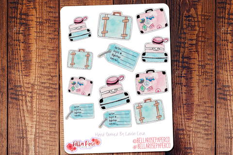 Travel Hand Painted Watercolor Planner Stickers W002