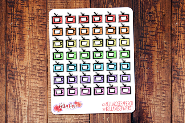 TV Icon Doodle Hand Drawn Planner Stickers