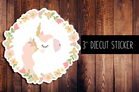 Floral Unicorn Diecut Sticker