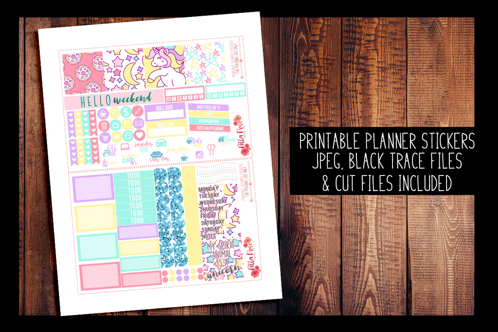Unicorn Mini Happy Planner Kit | PRINTABLE PLANNER STICKERS
