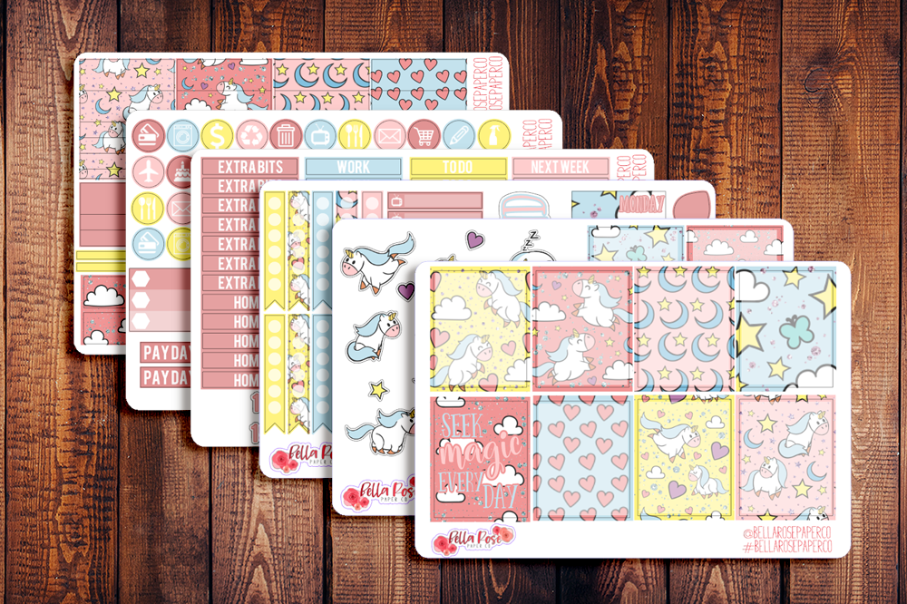 Unicorn Dreams Planner Sticker Kit F003