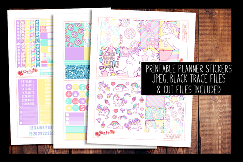 Unicorn Happy Planner Kit | PRINTABLE PLANNER STICKERS