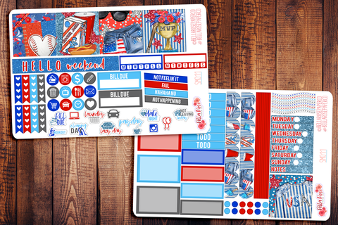 American Pastime/ July 4th Mini Happy Planner Sticker Kit SM011