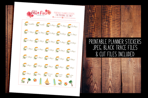 Beach Vacation Countdown Planner Stickers | PRINTABLE PLANNER STICKERS