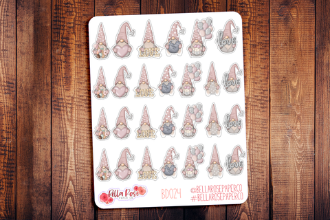 Valentine's Day Gnomes Planner Stickers BD024