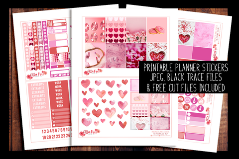 Valentine's Day Photo Planner Kit | PRINTABLE PLANNER STICKERS