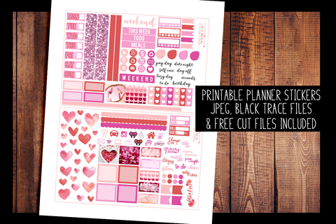 Valentine's Day Photo Hobonichi Weeks Kit | PRINTABLE PLANNER STICKERS