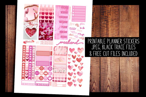 Valentine's Day Photo Mini Planner Kit | PRINTABLE PLANNER STICKERS