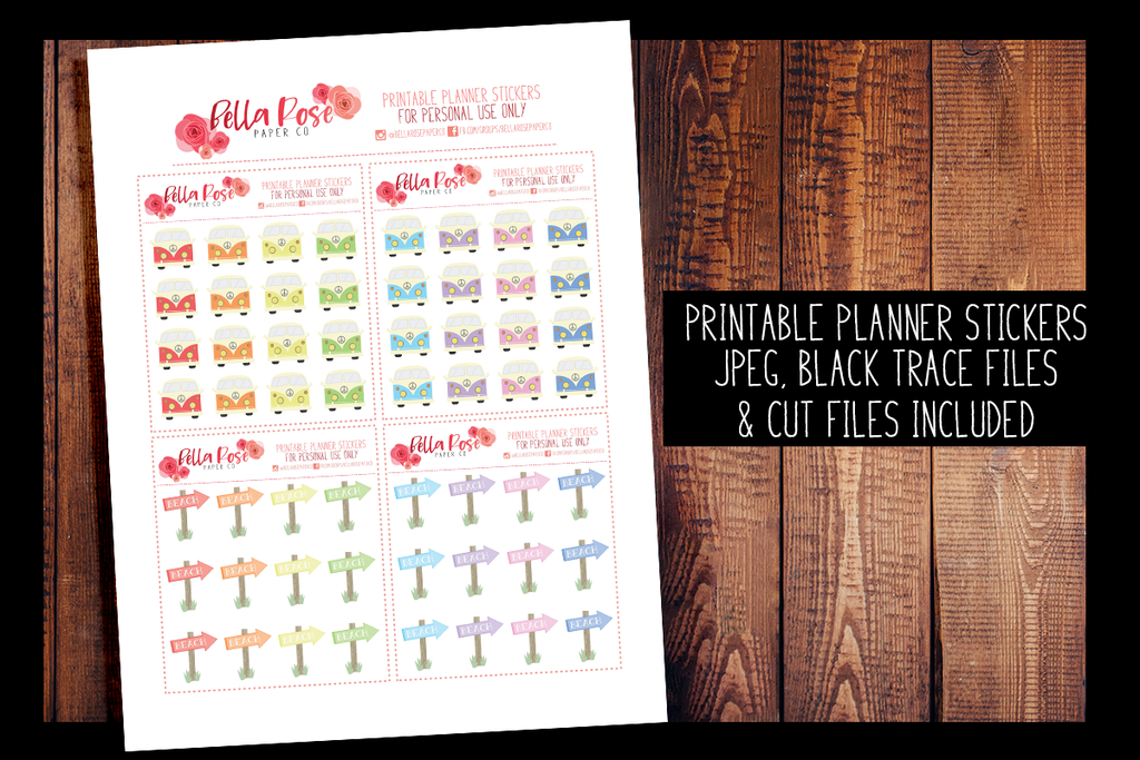 Retro Summer VW Bus/Beach Sign Planner Stickers | PRINTABLE PLANNER STICKERS