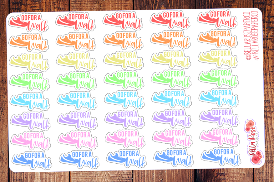 Go For A Walk Exercise Lettering Planner Stickers DI006