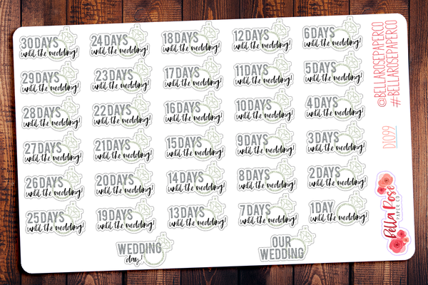 Silver/Gold Wedding Countdown Planner Stickers DI099