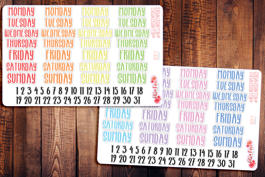 Marker Font Date Covers/Days of The Week Planner Stickers B051