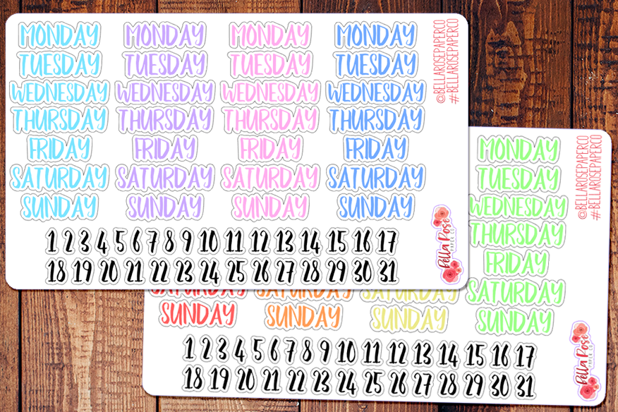 Date Covers/Days of The Week Planner Stickers B033