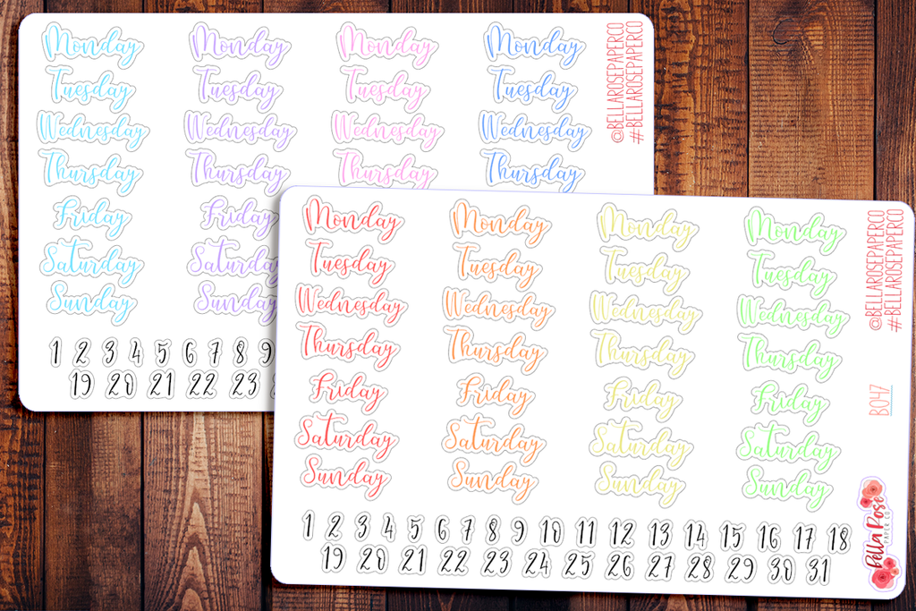 Script Date Covers/Days of The Week Planner Stickers B047