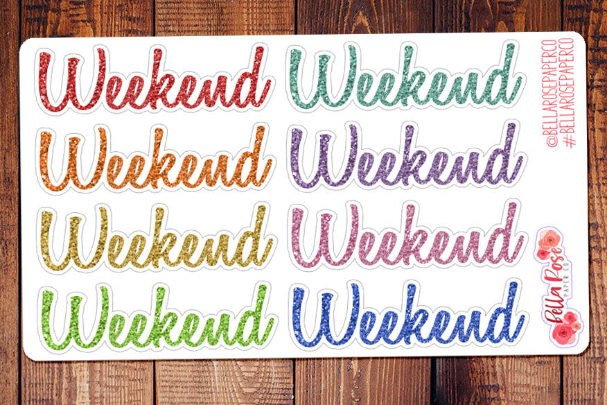 Glitter Weekend Banner Planner Stickers
