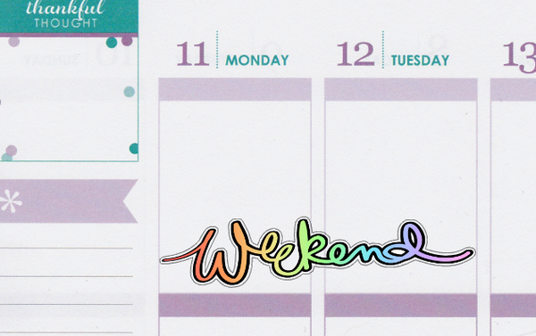 Script Weekend Banner Doodle Hand Drawn Planner Stickers