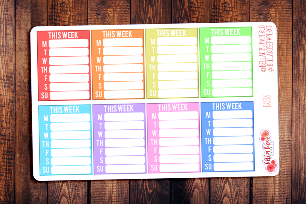 This Week Sidebar Planner Stickers B036