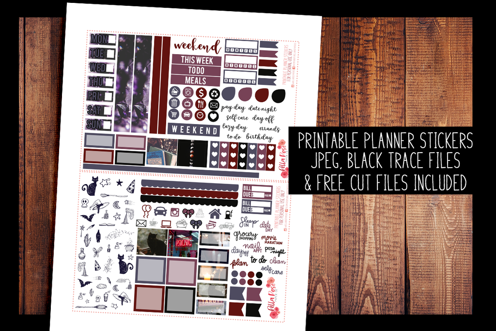 Witchy Vibes Hobonichi Weeks Kit | PRINTABLE PLANNER STICKERS