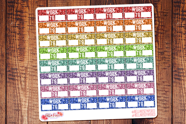 Glitter Work Schedule Planner Stickers v2