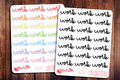 Work Hand Lettering Planner Stickers HL033