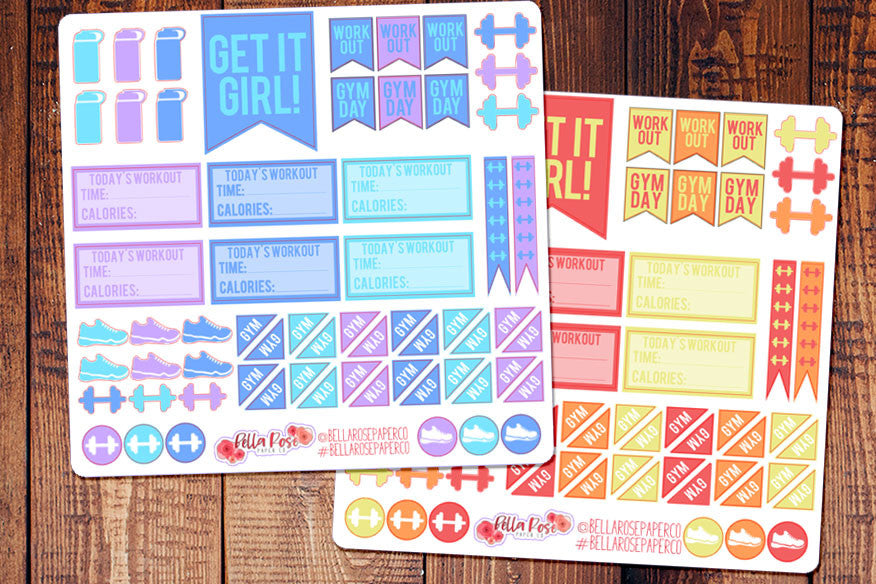Workout/Exercise Gym Themed Planner Stickers