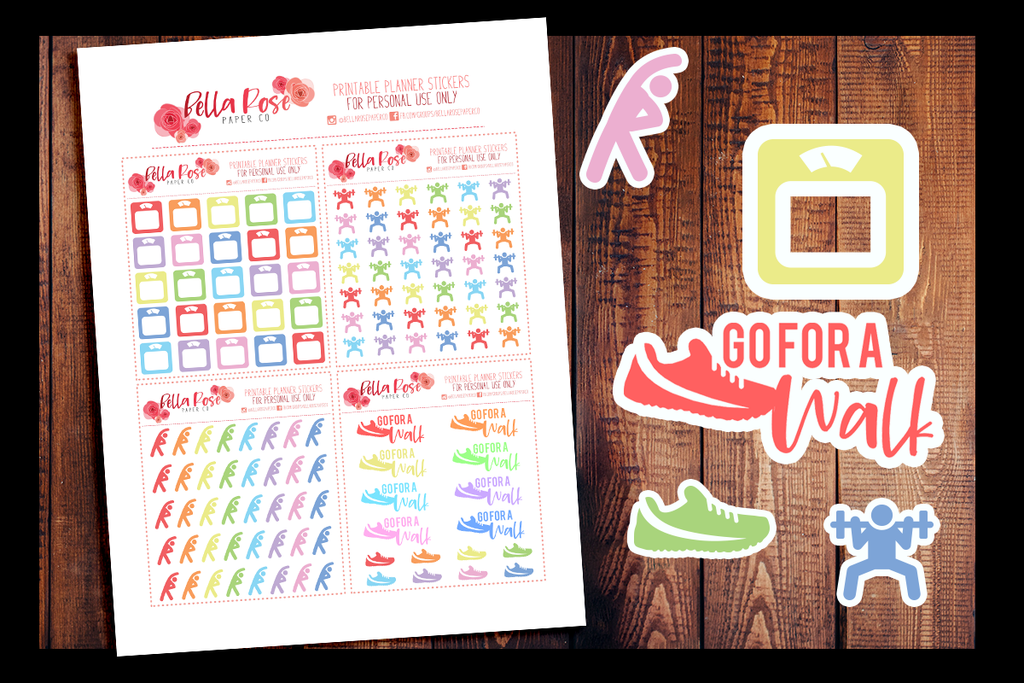 Workout Fitness Planner Stickers Printable Planner Stickers