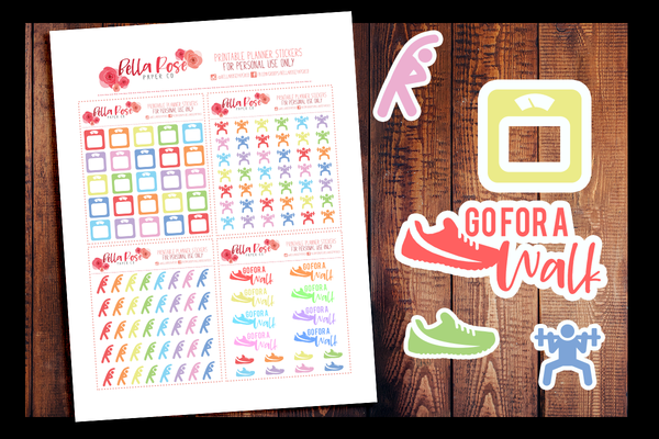 Workout/Fitness Planner Stickers | PRINTABLE PLANNER STICKERS