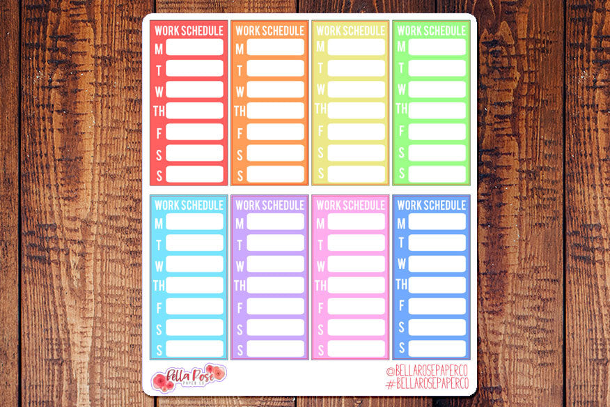 Work Schedule Sidebar Planner Stickers B006