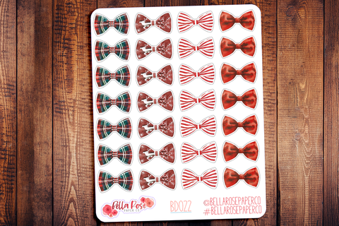 Christmas Bows Planner Stickers BD022