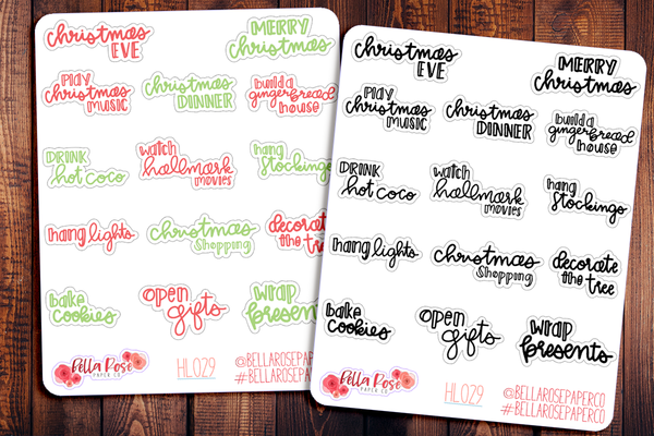 Christmas Holiday Bucketlist Hand Lettering Planner Stickers HL029