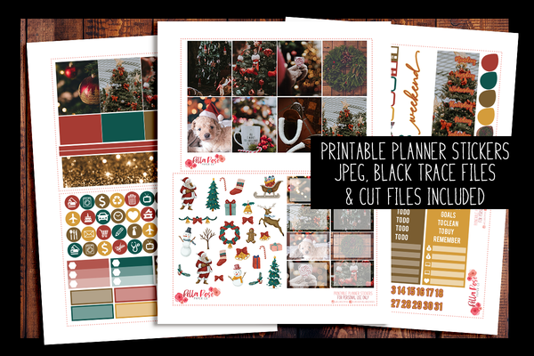 Christmas Photo Happy Planner Kit | PRINTABLE PLANNER STICKERS