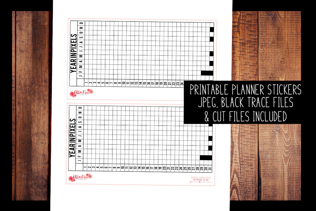 Year In Pixels Full Page Hobonichi Weeks Sticker | PRINTABLE PLANNER STICKERS