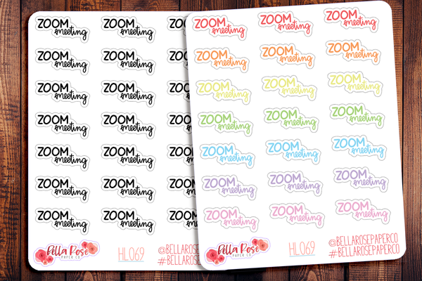 Zoom Meeting Hand Lettering Planner Stickers HL069