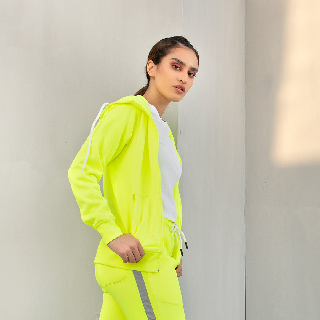 Neon Hooded Zipper - F