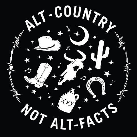 ALT-COUNTRY NOT ALT-FACTS T-SHIRT WITH BGS COOZIE
