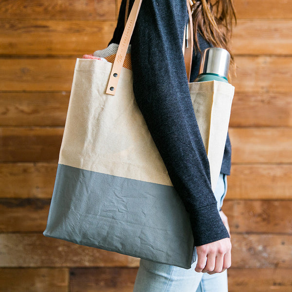 TBELLWETHER X BGS WAXED CANVAS & LEATHER TOTE