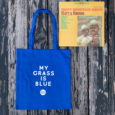 MY GRASS IS BLUE Tote + Vintage Bluegrass Vinyl from Our Collection