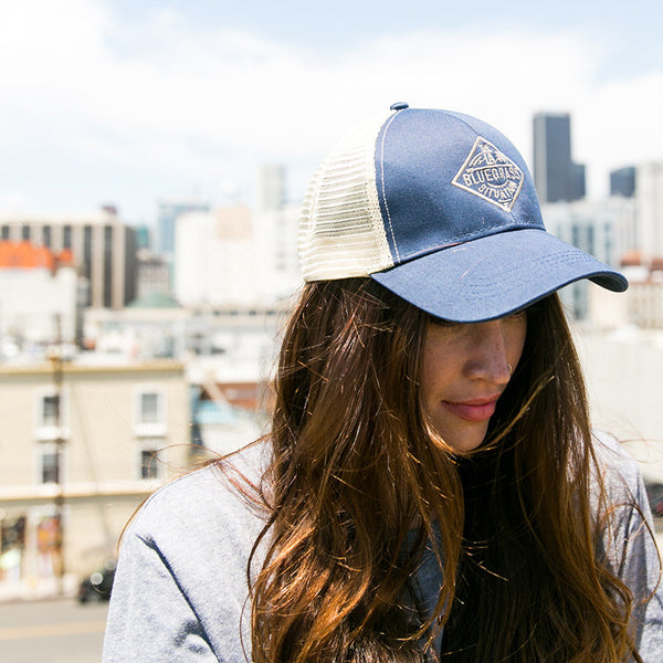 THE LA BLUEGRASS SITUATION MESH SNAPBACK HAT - NAVY/NATURAL