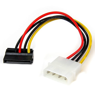 6in 4 Pin LP4 to Left Angle SATA Power Cable Adapter