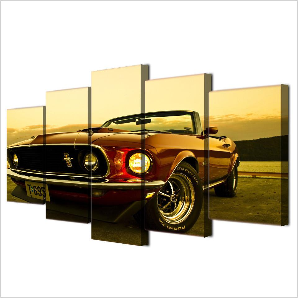 HD Printed 1969 Ford Mustang Wall Canvas Painting – TheHotrodderCorner