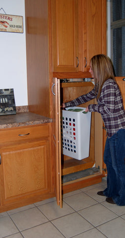 Girl using corner dumbwaiter
